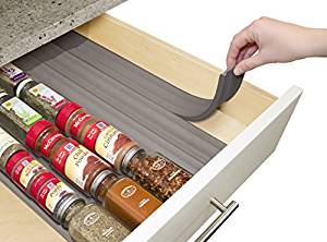 YouCopia SpiceLiner drawer organizer strips in wooden drawer
