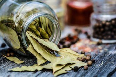 Dried bay leaves in a jar